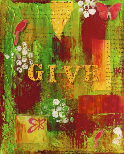"""Give"" is a 8x10 original mixed media collage by Michele Fauss - Sale benefits UNICEF Click Image for Details!"