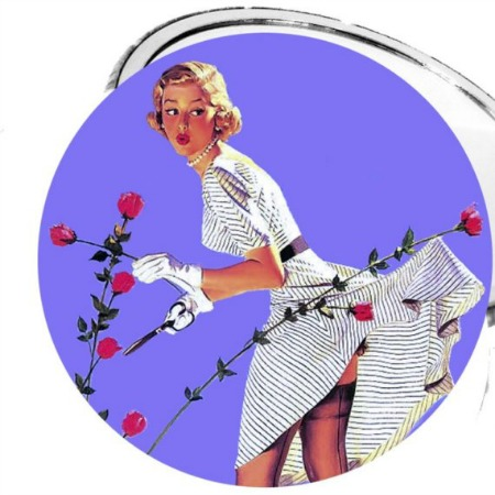 Click image for more details! Pruning Roses Retro Pinup Girl 2 1/4 Inch Pocket Mirror OR Bottle Opener OR Keychain or Magnet