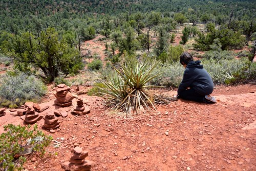 stacking stones in Sedona, AZ                          photo by ces