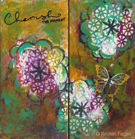 Cherish the Moment  Original Painting on Reclaimed Wood Block by Kristen Fagan